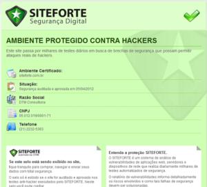 Captura de tela com o selo do Site Forte expandido com as informações de segurança