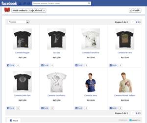Loja online da Musicamiseta vinculada com o Facebook