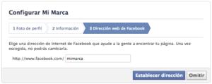 Elige la URL para la página de tu marca en Facebook