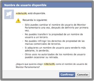 Confirma la URL de la página de tu marca en Facebook
