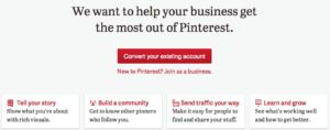 Convertir una cuenta personal de Pinterest a una cuenta para empresas