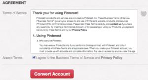 Acepta los términos y condiciones de Pinterest para empresas