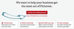 Crea una cuenta nueva de Pinterest para empresas
