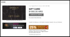 Gift card de Natalia Antolin que las ofrece para comprar desde su tienda online