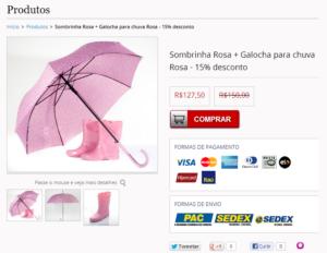 Captura de tela com um kit de produtos contendo guarda-chuva e galochas