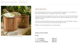 Captura de tela com promoção de velas em que o preço unitário cai à medida que a pessoa compra mais unidades