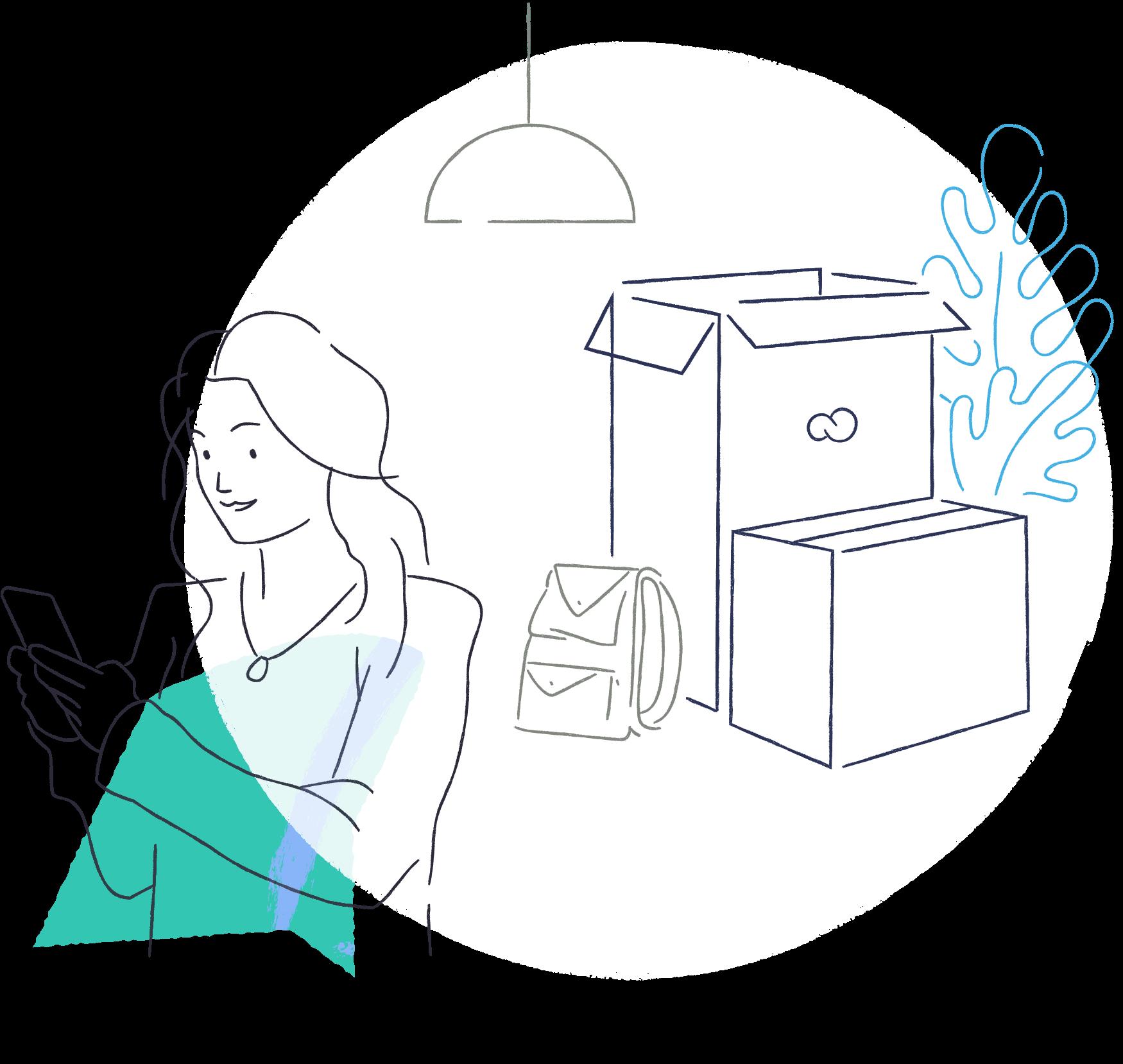 Ilustração de mulher mexendo no celular com caixas ao fundo, representando como vender pela internet