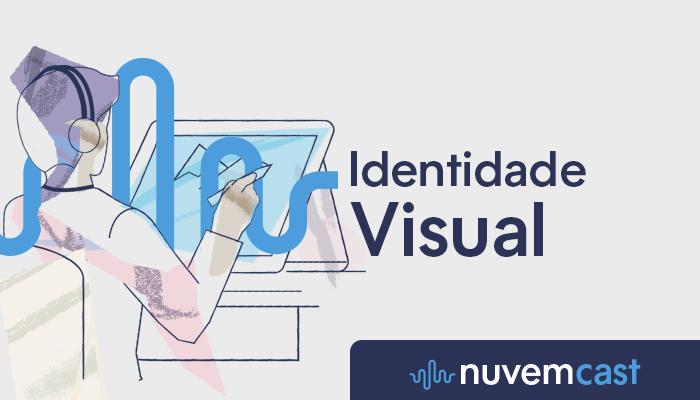 Ilustração em azul e branco do NuvemCast sobre identidade visual