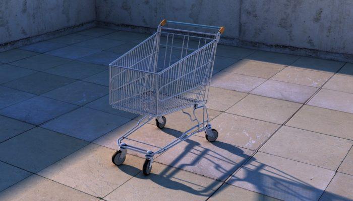 Carrinho de supermercado representa a recuperação de carrinhos abandonados