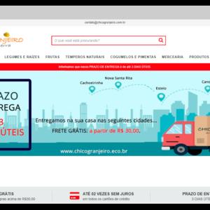 Exemplo de banner com detalhes sobre local e prazos de entrega da loja virtual Chico Granjeiro, sobre como vender comida pela internet
