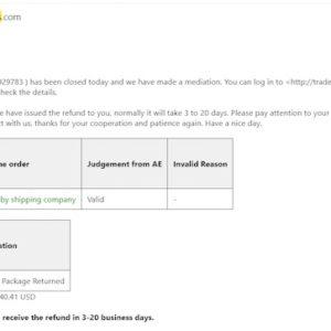 email com código de ePacket da AliExpress