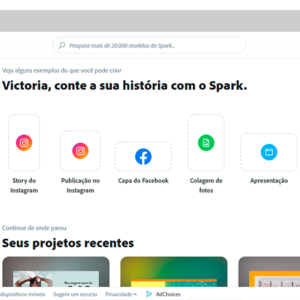 Captura de tela da ferramenta Adobe Spark, para criar banner grátis