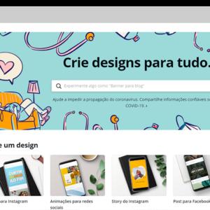 Captura de tela da ferramenta Canva, para criar banner grátis