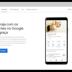 Página inicial do Google Meu Negócio