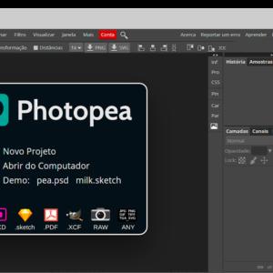 Captura de tela da ferramenta Photopea, para criar banner grátis