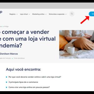 """Captura de tela desta página com uma seta online indicando o botão """"Criar sua Nuvemshop"""", para começar a vender online"""