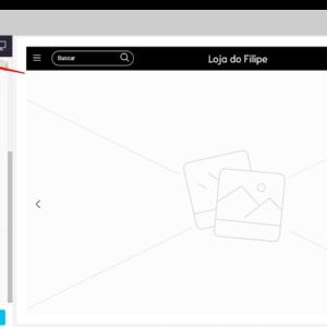 Captura de tela do administrador da Nuvemshop, com o botão para ver a prévia da loja virtual indicado por setas