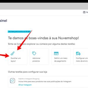 """Captura de tela do editor para vender online, indicando o botão """"escolher layout"""""""