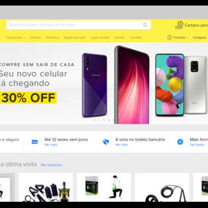 Captura de tela do Mercado Livre, mostrando como funciona o marketplace, com uma seta no canto superior direito apontando o ícone do carrinho de compras
