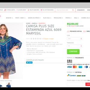 Captura de tela mostrando a descrição de um produto em uma loja virtual de roupas, com informações sobre os tecidos usados e materiais