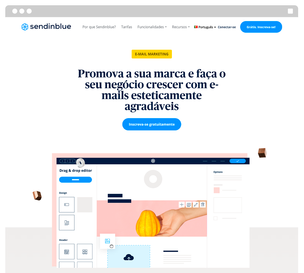 Captura de tela da ferramenta de e-mail marketing grátis Sendinblue