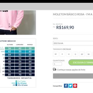 Captura de tela de um e-commerce com uma tabela de medidas para vender roupas online