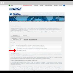 Captura de tela da Concla, onde é possível consultar o CNAE para ecommerce