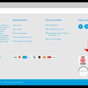 Captura de tela de loja virtual, mostrando os selos de confiabilidade