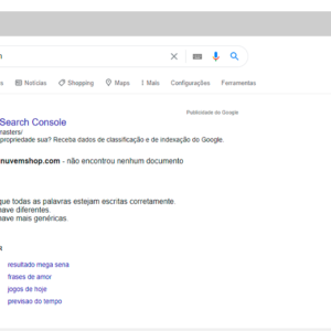 Resultado do Google mostrando um domínio não indexado