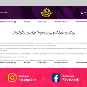 Imagem mostrando a página de políticas de troca da loja Nerd Universe.