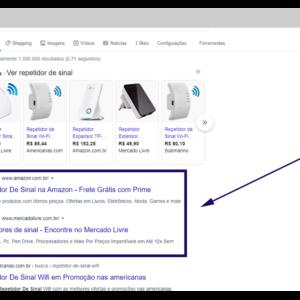 Imagem mostrando o exemplo de um anúncio na rede de pesquisa.