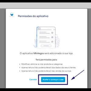 Imagem mostrando a página de autorização dos aplicativos na Nuvemshop.