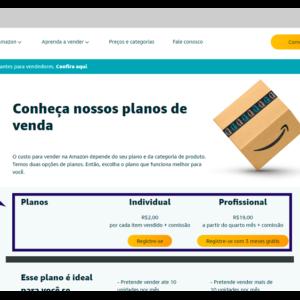 Imagem mostrando a página de planos da Amazon para vendedores.