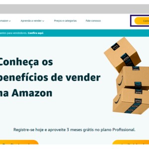 Imagem mostrando a página inicial da Amazon para vendedores.