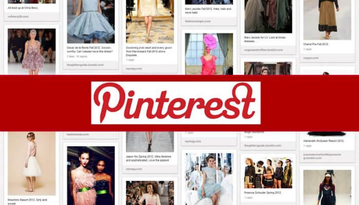 Imagem de publicações de moda no Pinterest, com tarja vermelha no meio e o nome da rede social escrito em cima da tarja