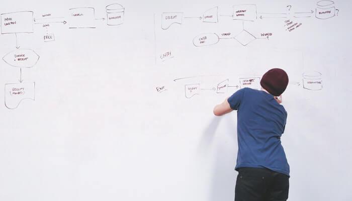 Homem de costas, fazendo um diagrama em lousa branca, representando o planejamento de campanhas no Google Ads