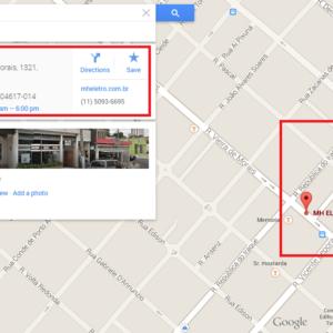 Exemplo de um estabelecimento aparecendo no Google Maps
