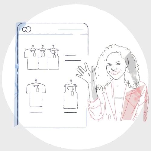 Ilustração de mulher sorrindo e acenando em frente à tela de um celular com uma loja virtual de roupas