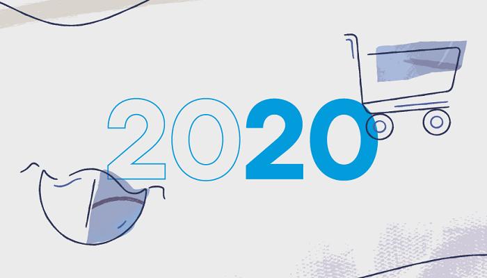 2020 escrito em azul