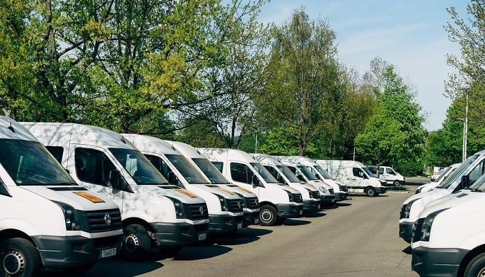 frota de vans de transportadora para ecommerce