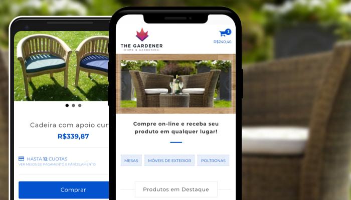 Smartphones mostram o layout gardener da nuvemshop