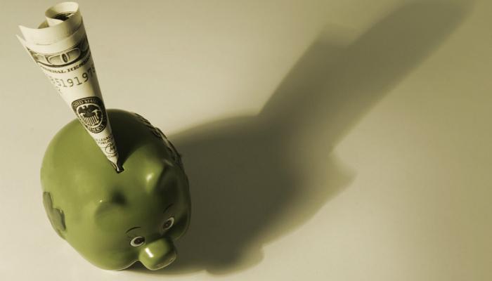 Cofre de porquinho com cédula enfiada representa como calcular o roi
