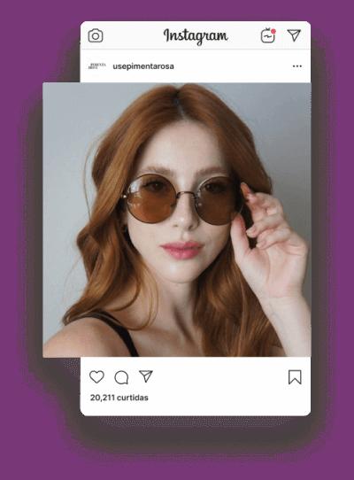 Captura de tela do Instagram da loja Pimenta Rosa, com mulher usando óculos de sol