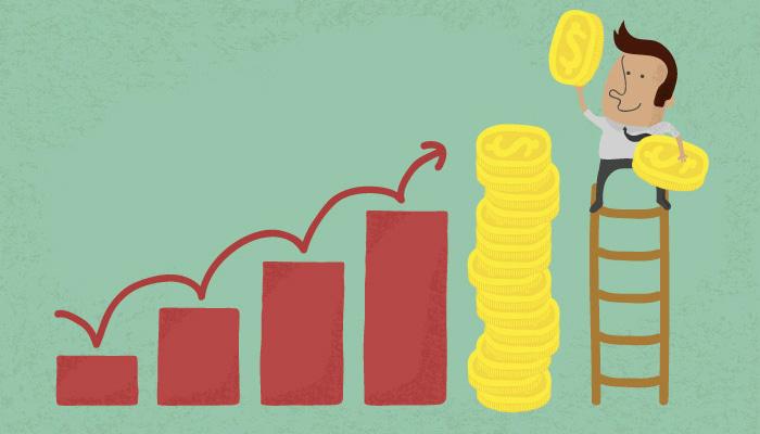 Ilustração de homem empilhando moedas representa o planejamento financeiro