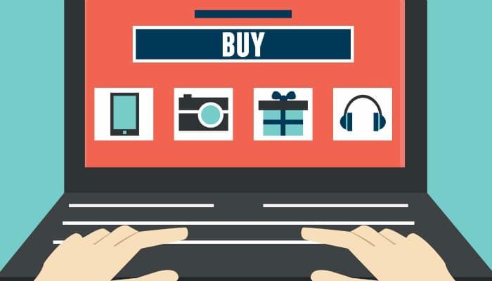 Ilustração de computador em página de ecommerce