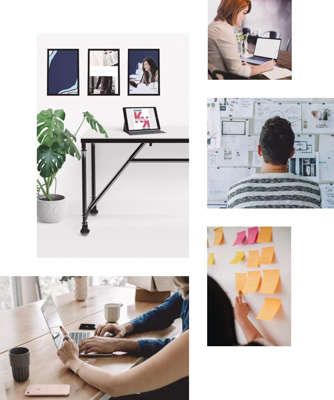 Colagem de fotos ilustrativas de empreendedores trabalhando no plano de marketing