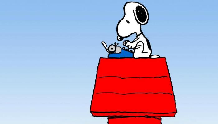 Ilustração do personagem Snoopy escrevendo em máquina de escrever representa como escrever bons títulos de email