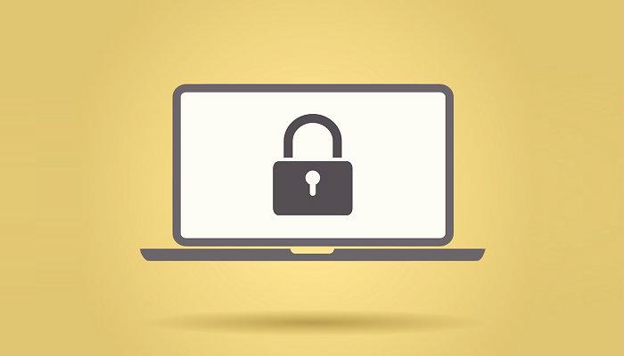 Ilustração de computador com cadeado desenhado na tela representa como instalar o Ebit na loja virtual
