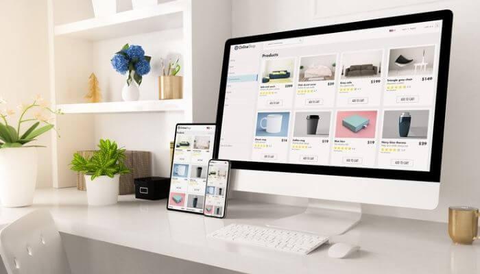Imagem que representa um site com design responsivo para desktop, tablet e smartphone