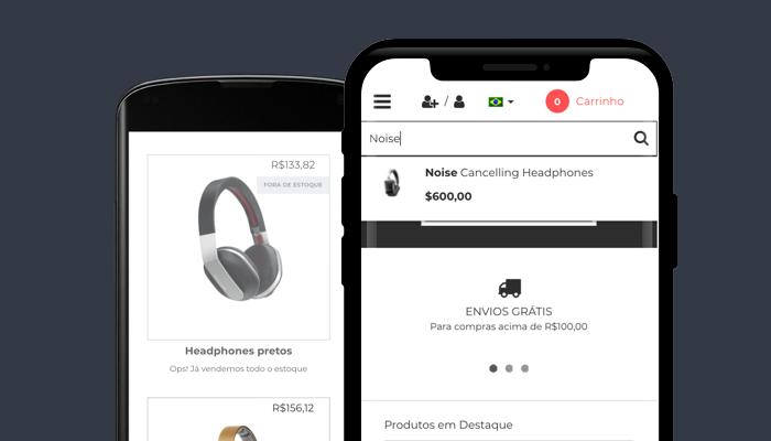 Smartphones mostram o layout Minimal da Nuvemshop
